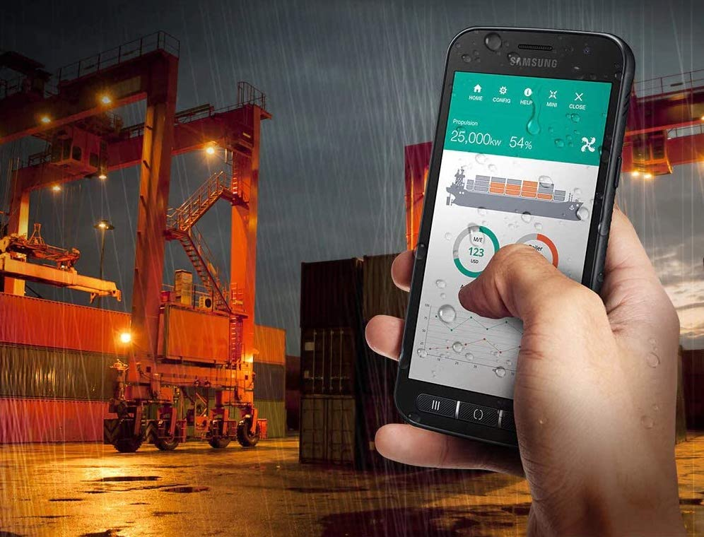 A Samsung Galaxy XCover 4s rugged mobile device being used outside in a logistics yard