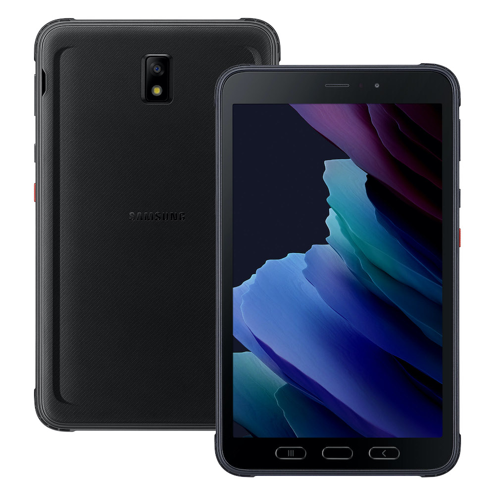 A Samsung Galaxy Tab Active3 mobile device from the front and back
